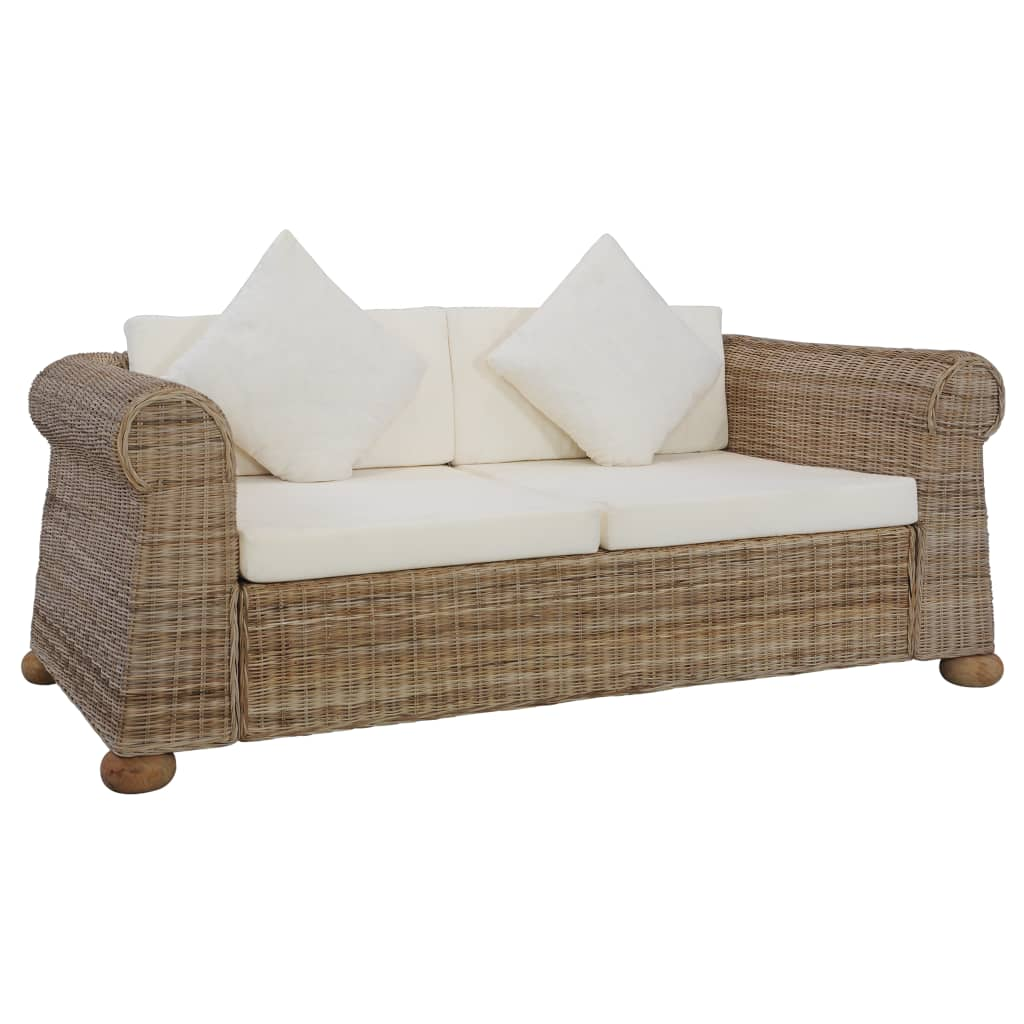 Canapé 2 places avec coussins en rotin naturel