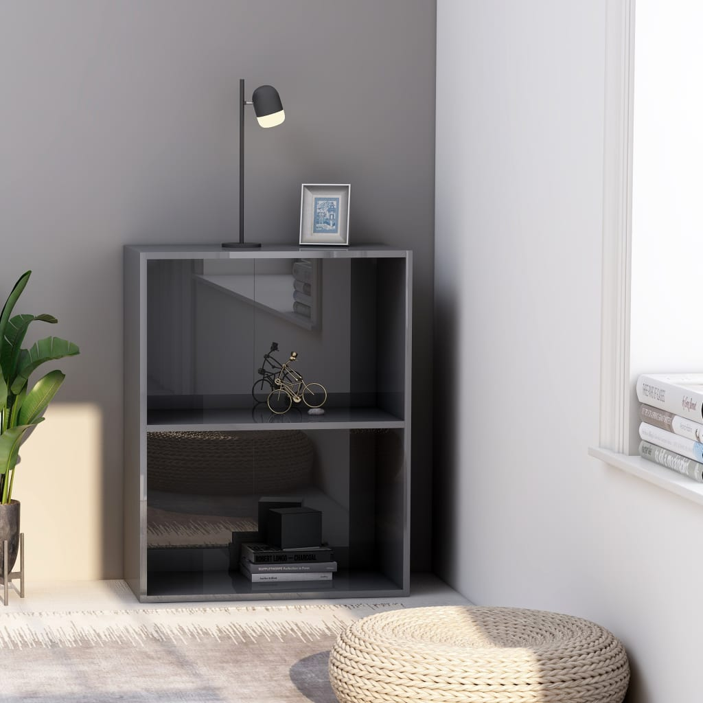 Armoire à livres à 2 niveaux gris brillant 60x30x76.5 cm aggloméré