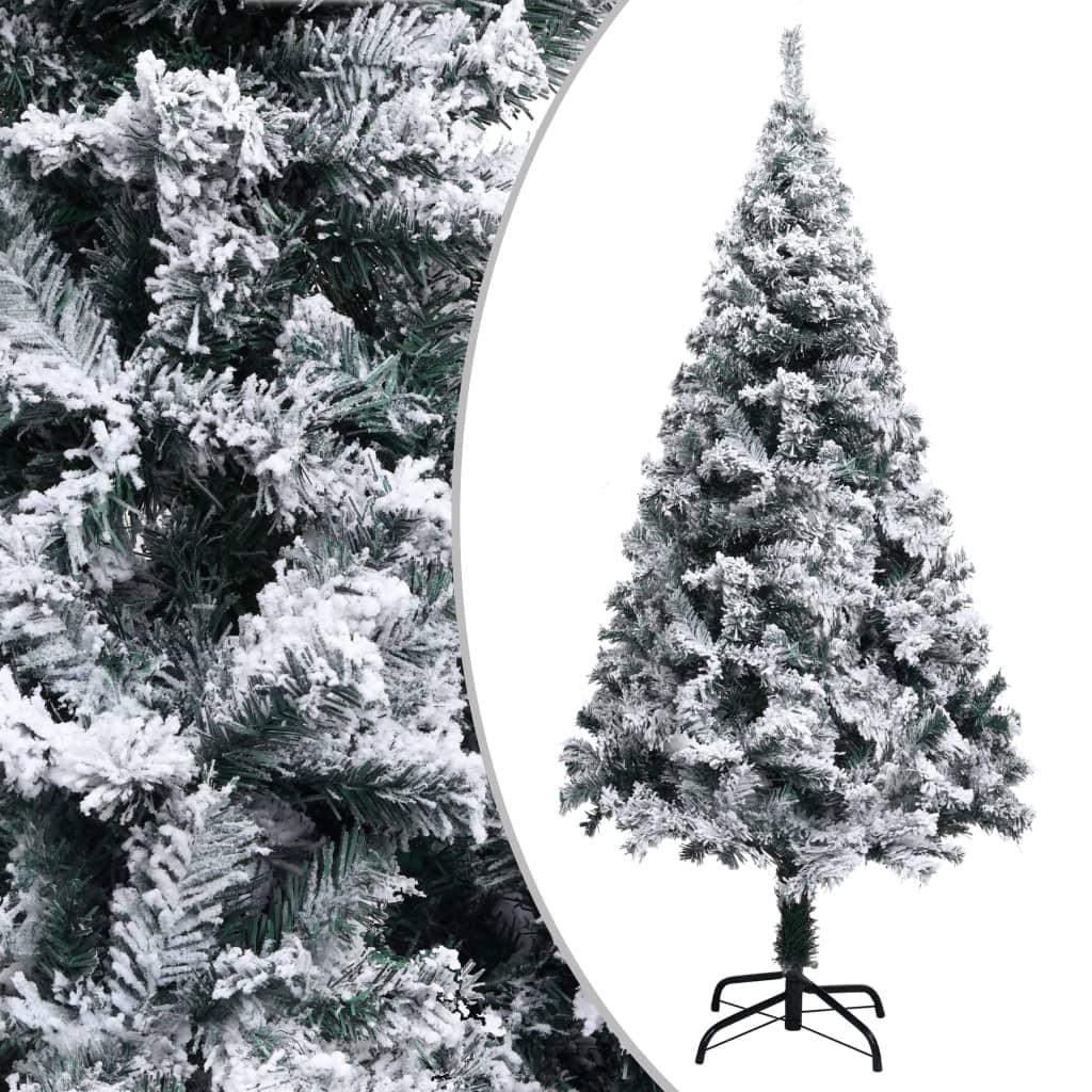 Sapin de Noël artificiel avec flocké vert neige 150 cm PVC