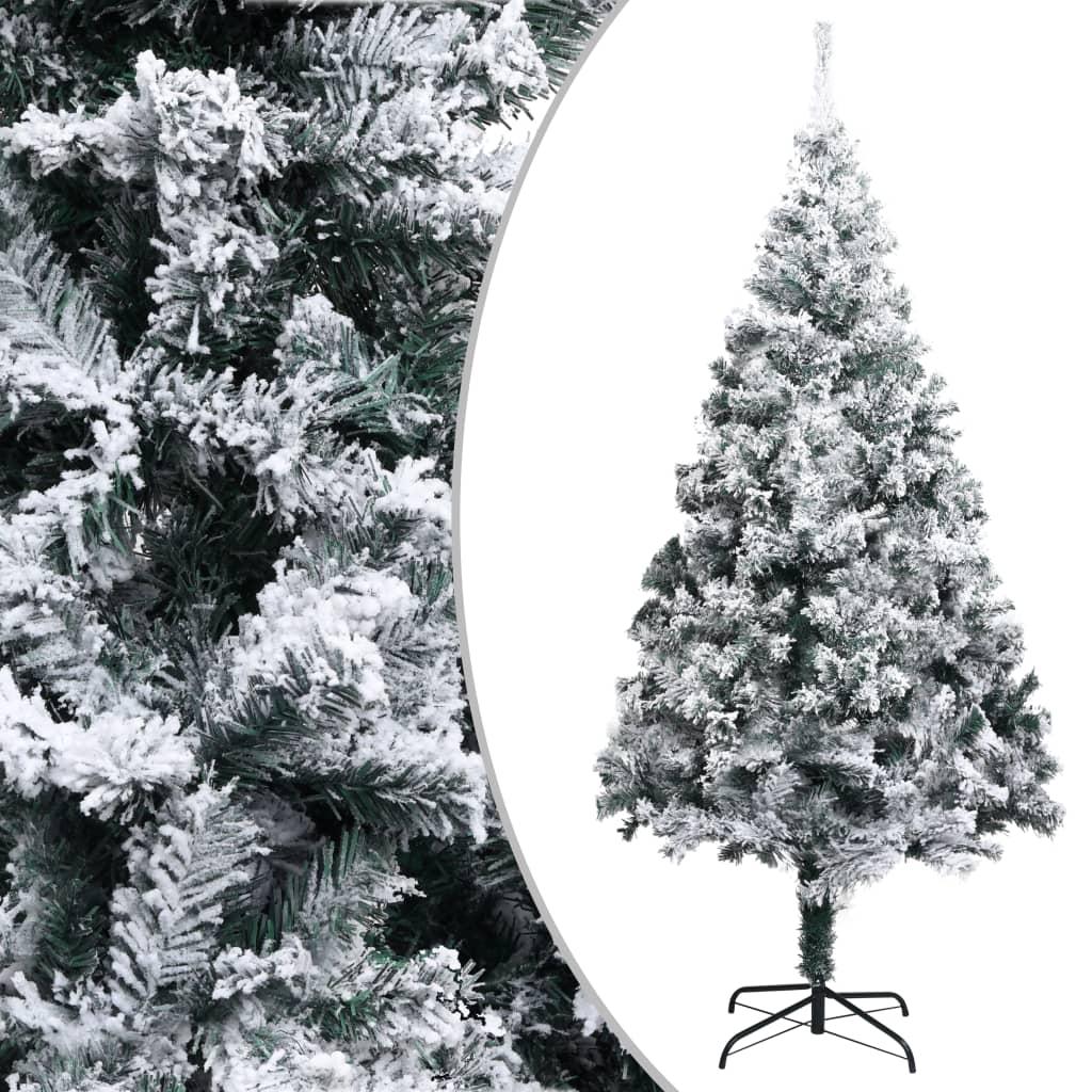 Sapin de Noël artificiel avec flocké vert neige 180 cm PVC
