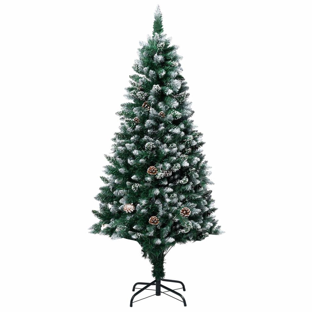 Sapin de Noël artificiel avec pommes de pin et neige blanche 180 cm