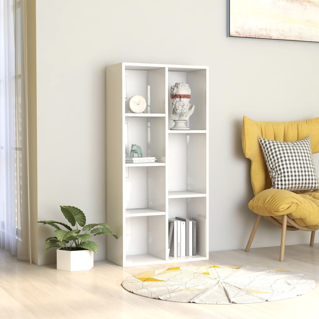 Book Cabinet High Gloss White 50x25x106 cm Chipboard