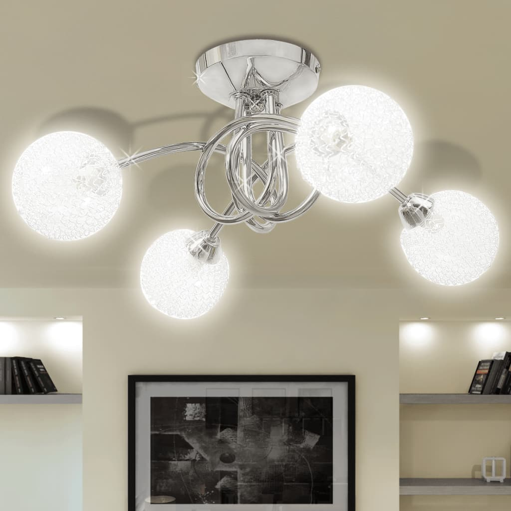 Ceiling Lamp with Mesh Wire Shades for 4 G9 Bulbs