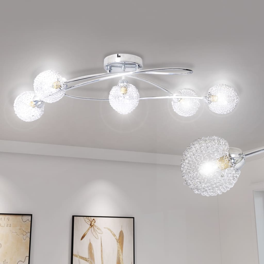 Ceiling Lamp with Mesh Wire Shades for 5 G9 Bulbs