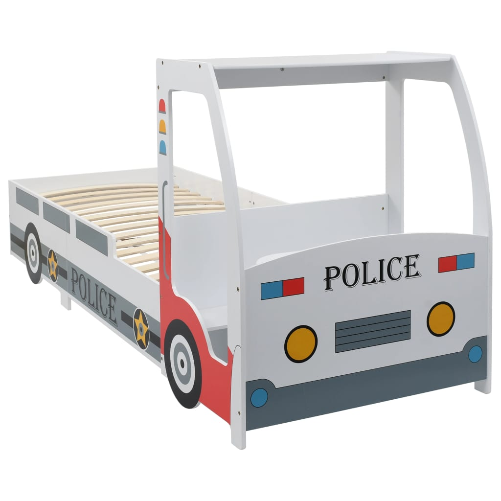 Lit de voiture de police pour enfants avec bureau 90x200 cm