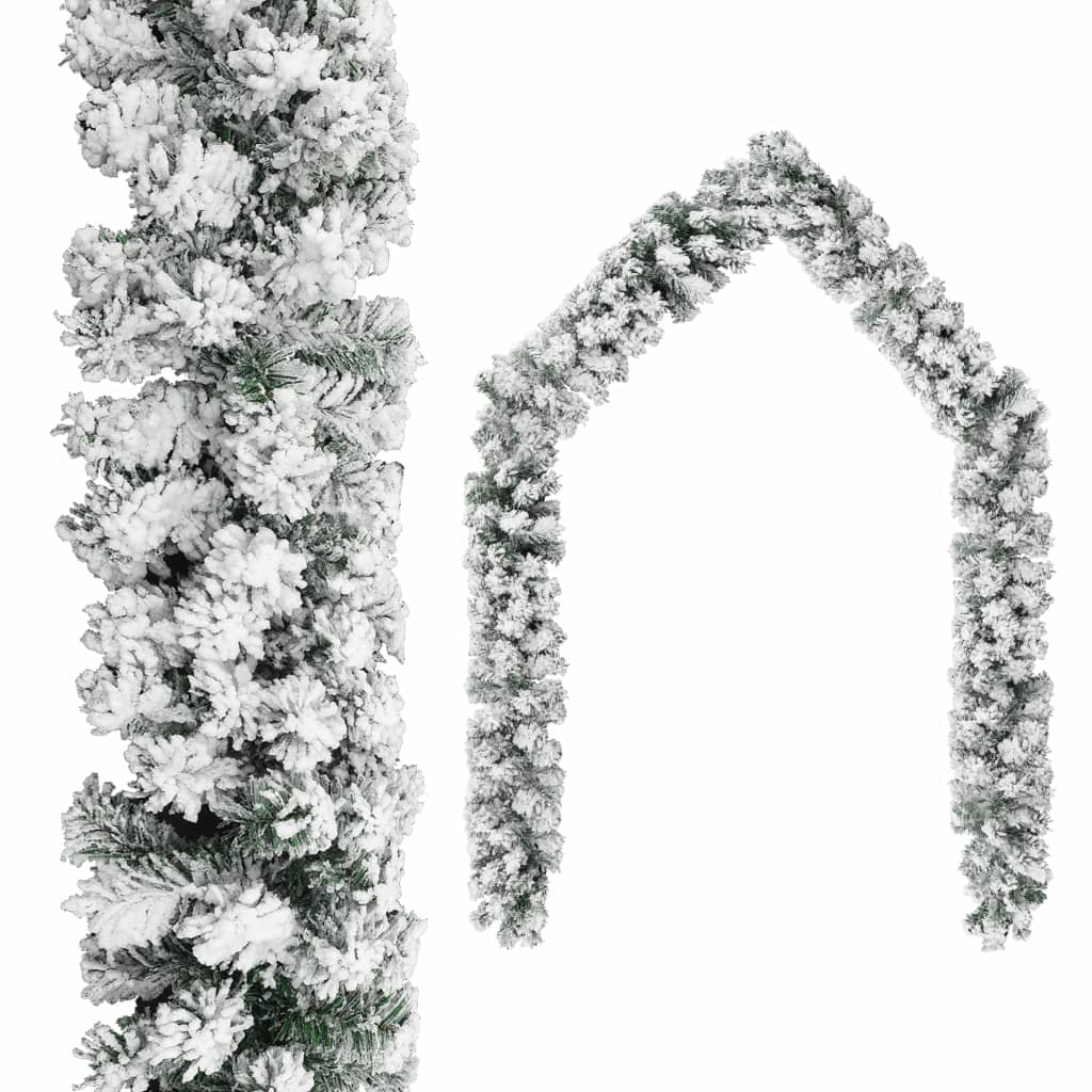 Guirlande de Noël avec Flocked Snow Green 10 m PVC