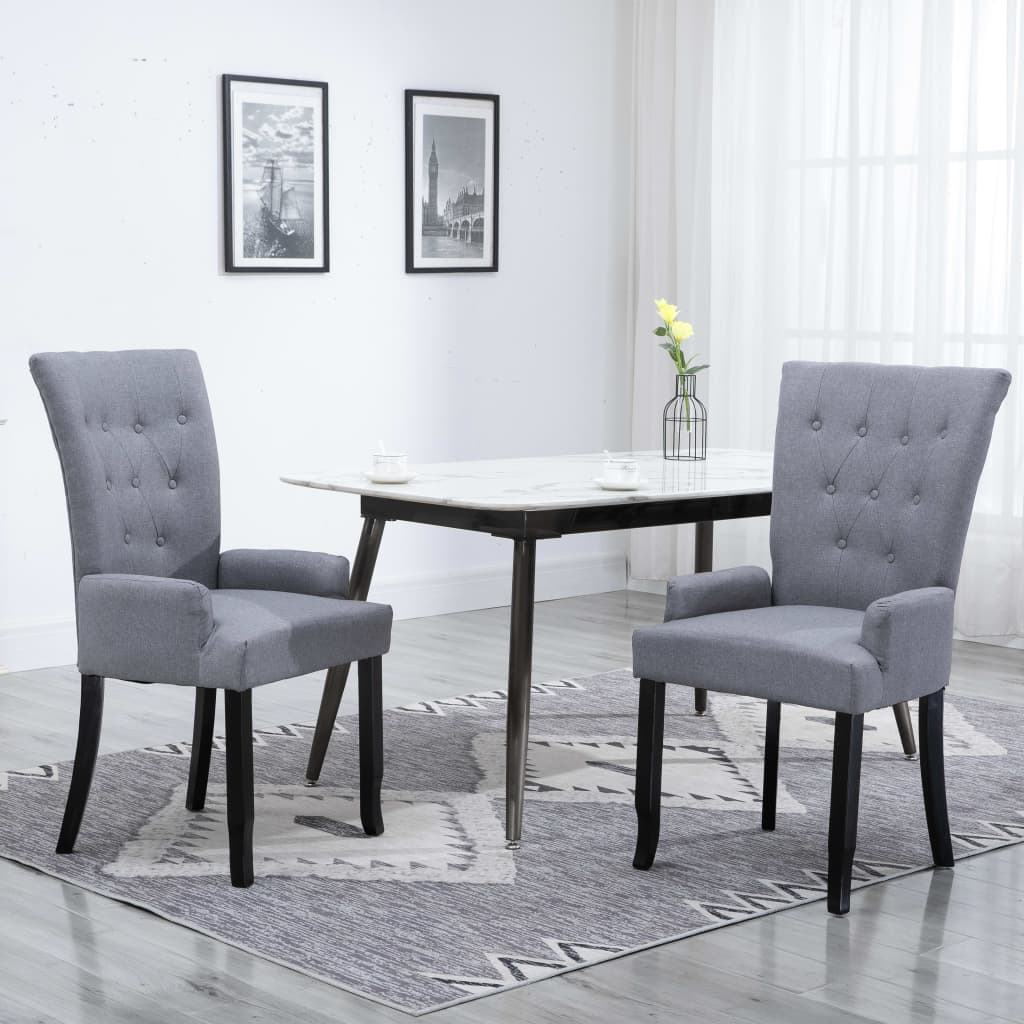 Chaise de salle à manger avec accoudoirs en tissu gris clair