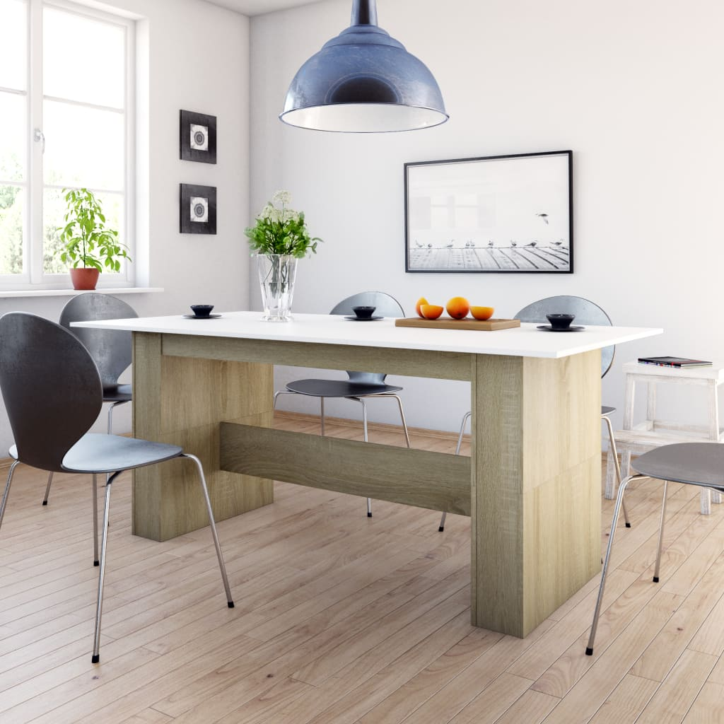Dining Table White and Sonoma Oak 180x90x76 cm Chipboard
