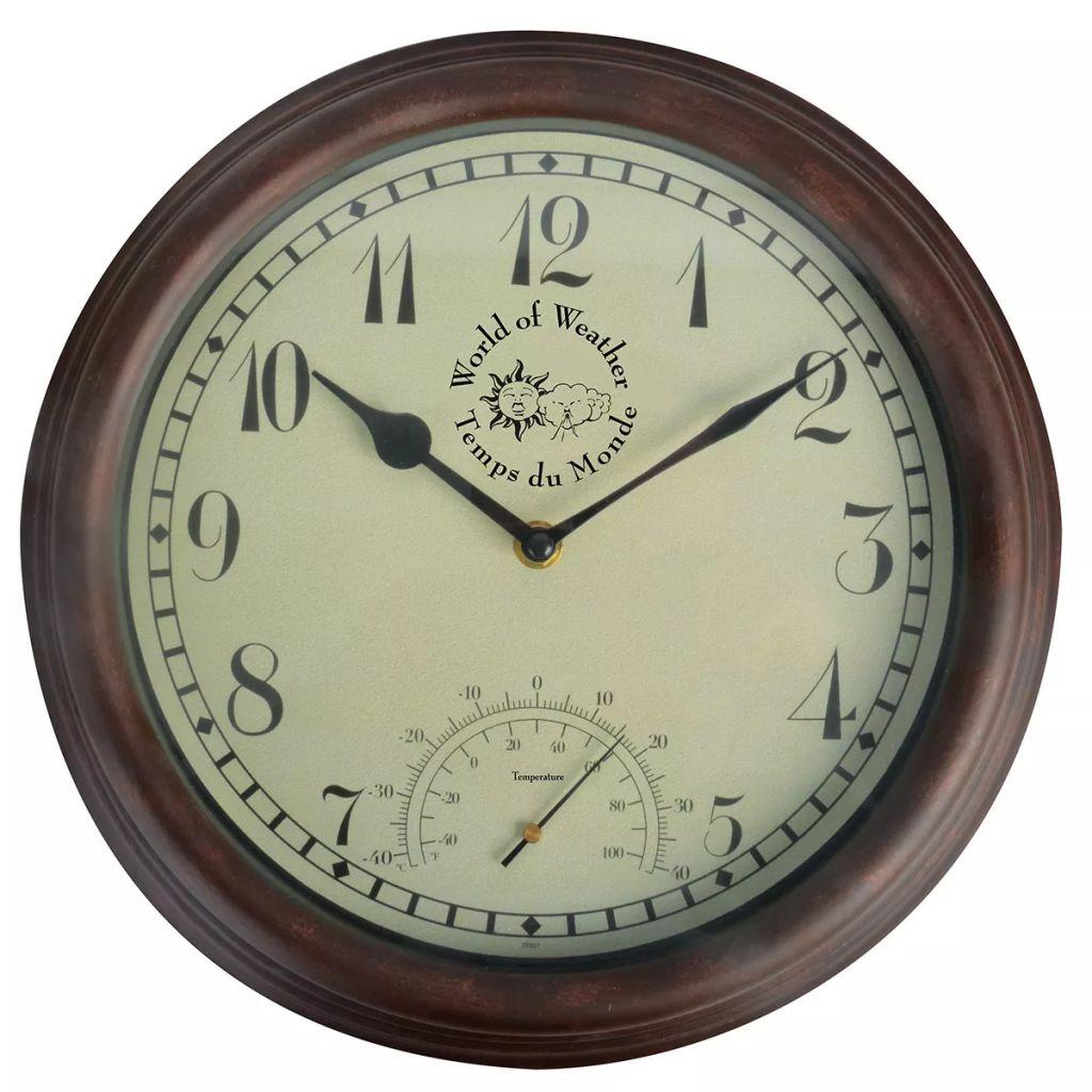 Esschert Design Station Clock com termômetro 30.5 cm TF007