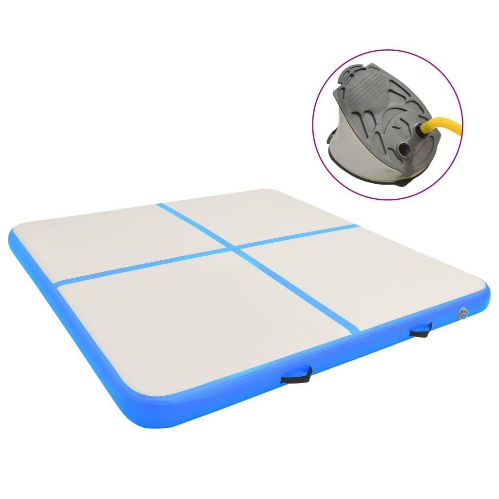 Надувной гимнастический мат с помпой 200x200x20 cm PVC Blue