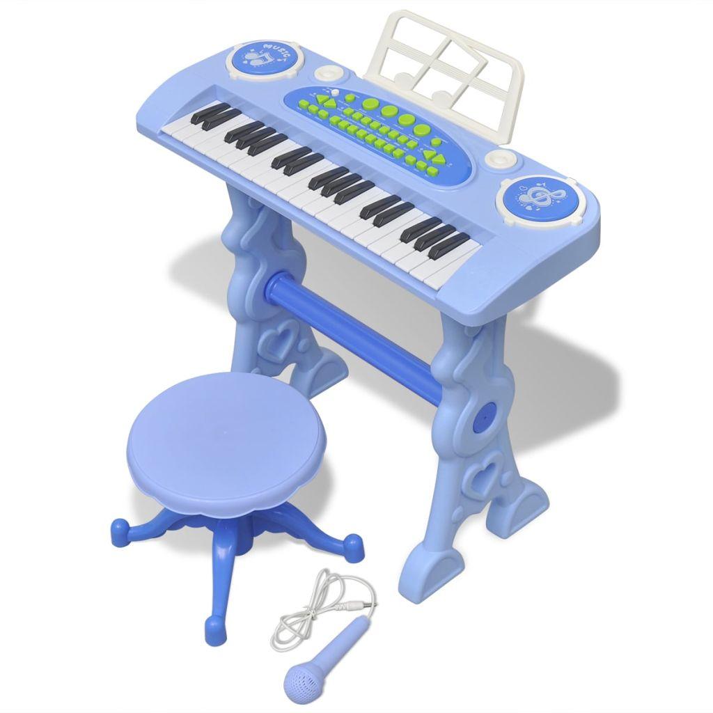 Clavier jouet de salle de jeux pour enfants avec tabouret / microphone 37 touches bleu