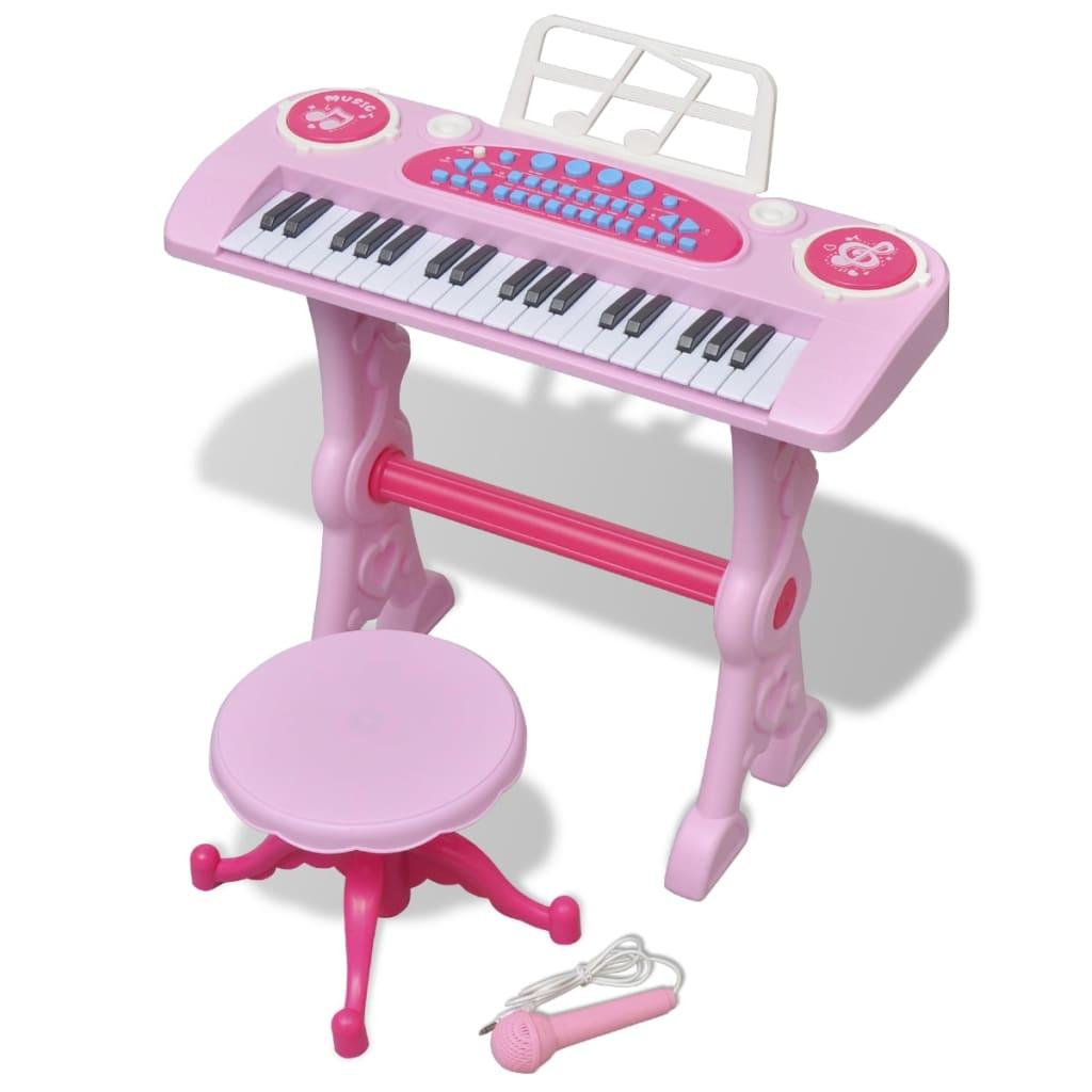 Clavier jouet de salle de jeux pour enfants avec tabouret / microphone 37 touches rose