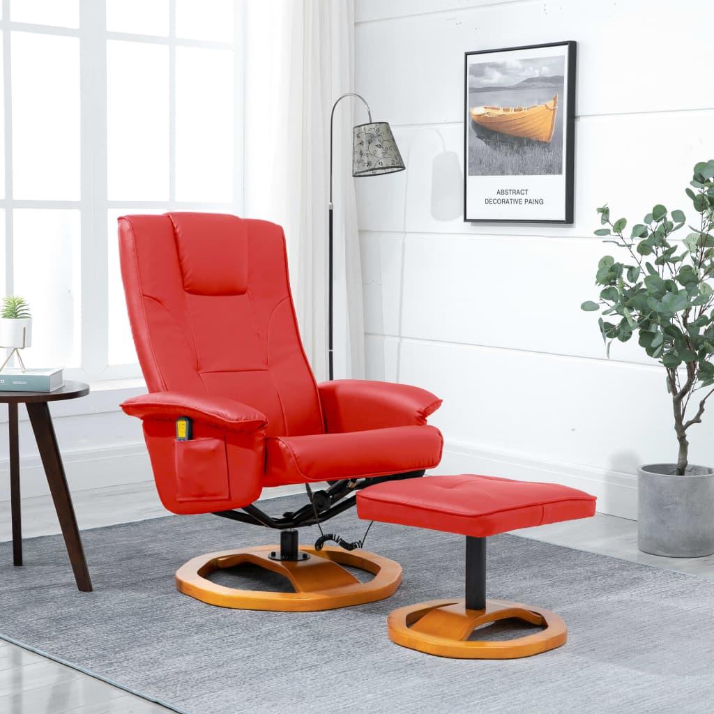 Fauteuil de massage avec repose-pieds en similicuir rouge