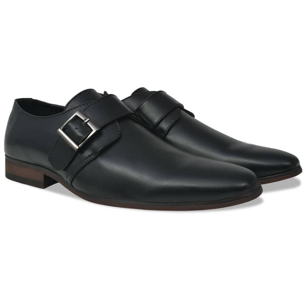 Ανδρικά παπούτσια Monk Strap Μαύρο μέγεθος 7.5 PU δέρμα
