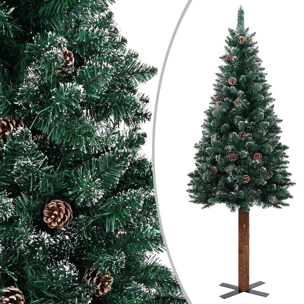Sapin de Noël fin en bois véritable et vert neige blanc 180 cm