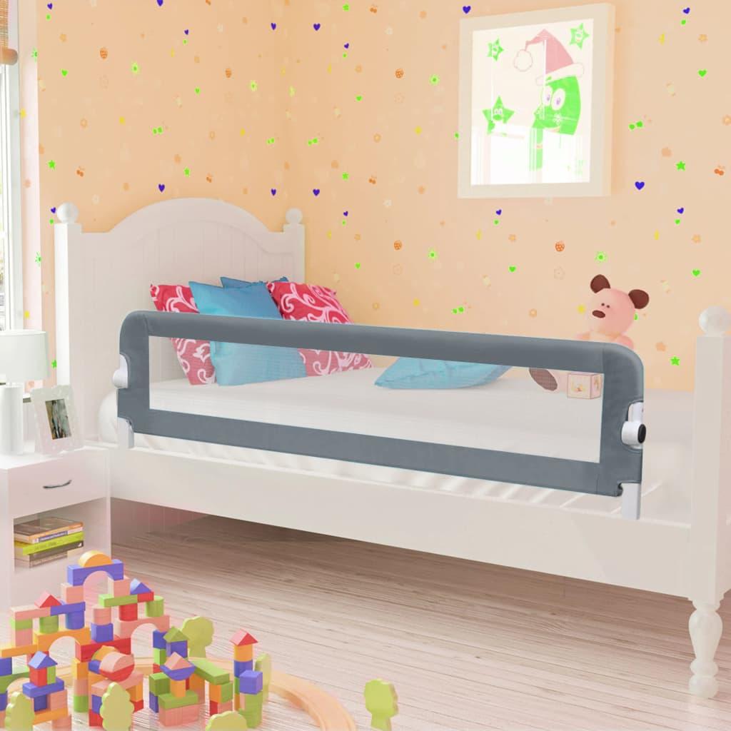 Barrière de lit de sécurité pour tout-petit Gris 120x42 cm Polyester