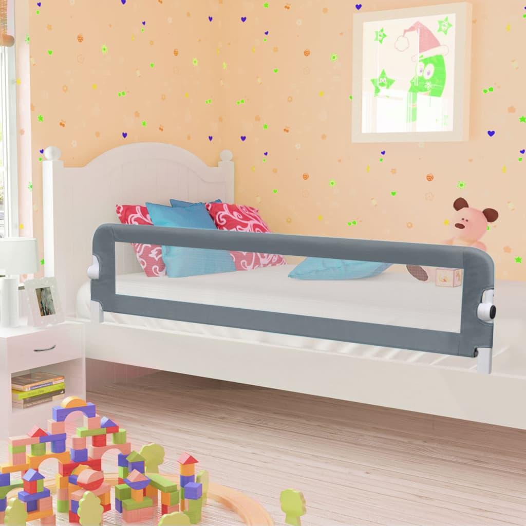 Barrière de lit de sécurité pour tout-petit Gris 180x42 cm Polyester