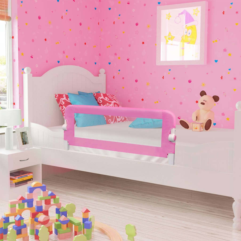 Ροζ κρεβατιών ασφαλείας για μικρά παιδιά Ροζ 120x42 cm Πολυεστέρας