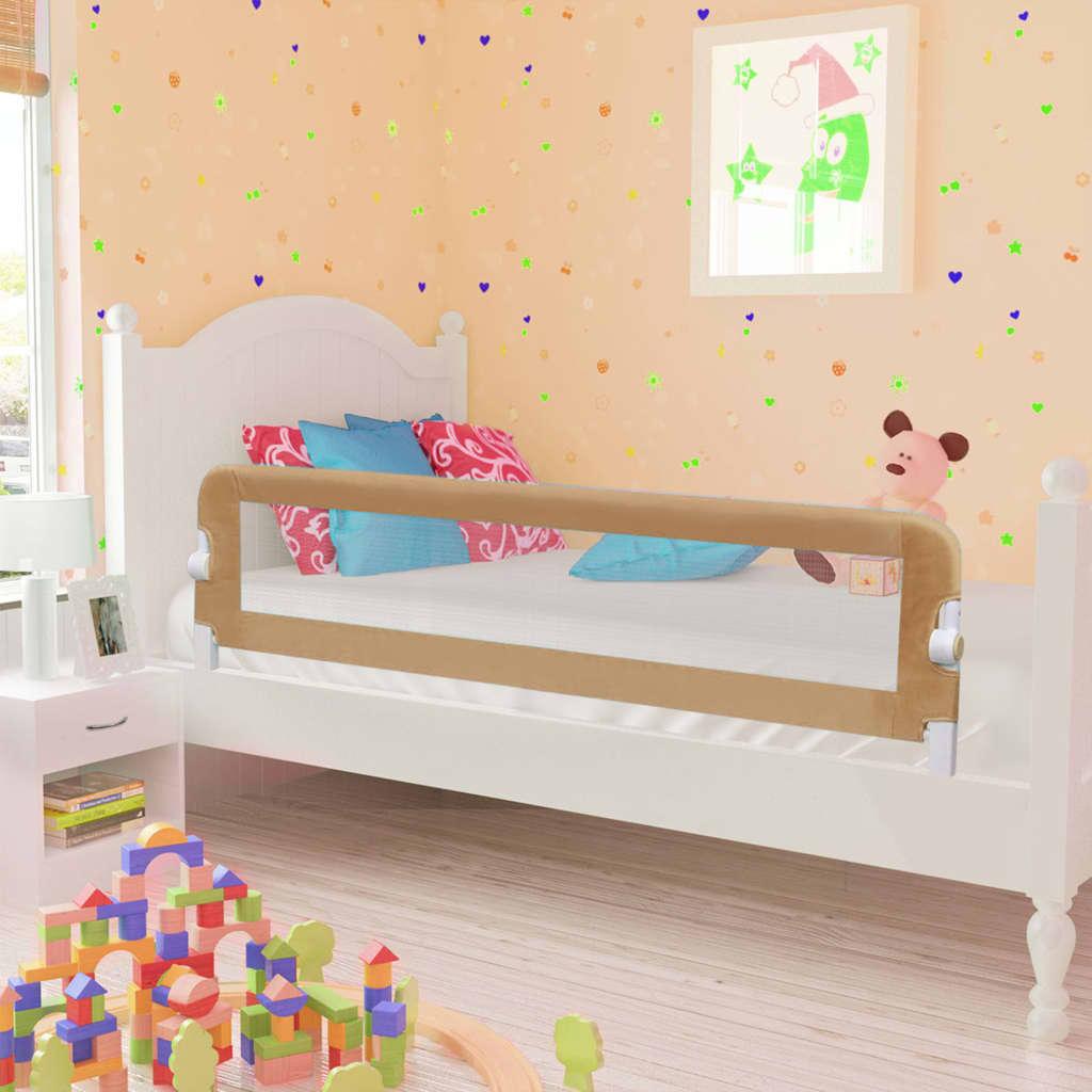 Barrière de lit de sécurité enfant Taupe 150x42 cm Polyester