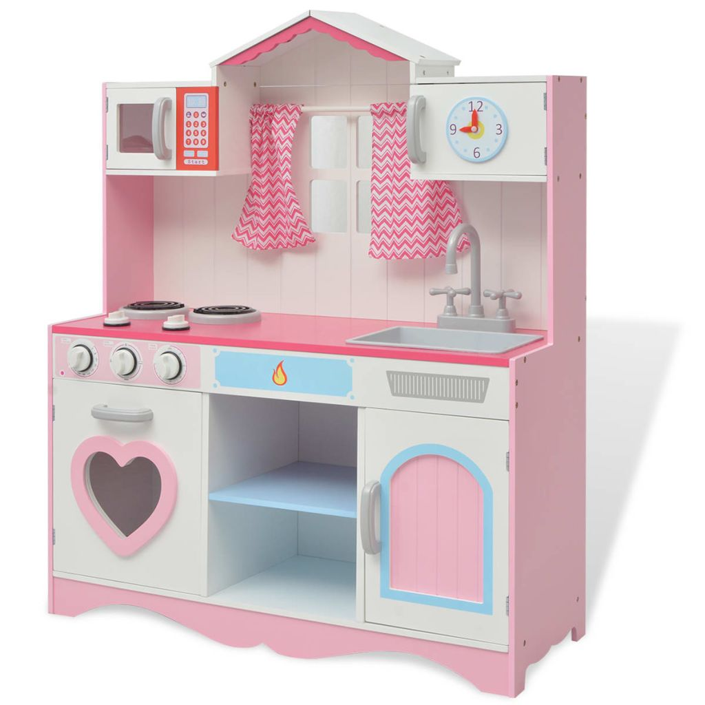 Játék konyhai fa 82x30x100 cm rózsaszín és fehér