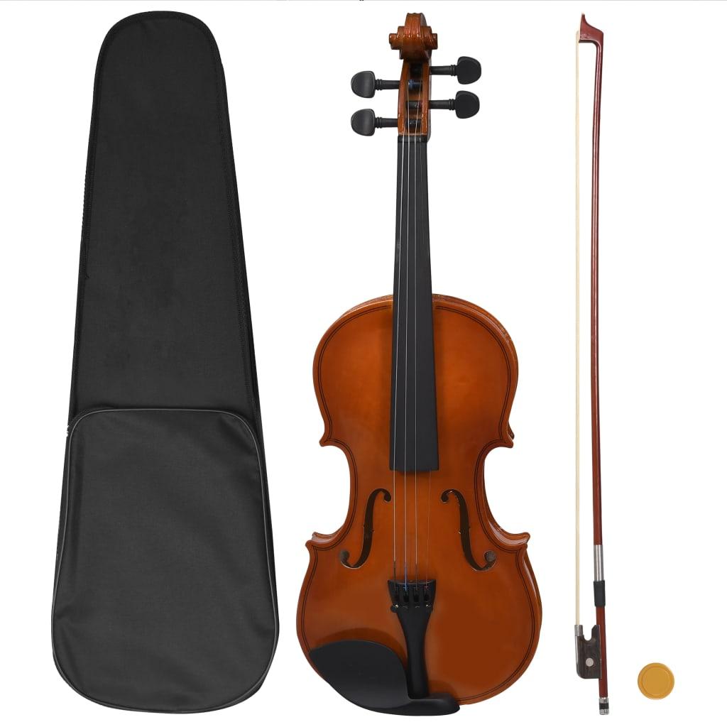 Ensemble complet de violon avec archet et mentonnière bois foncé 4/4