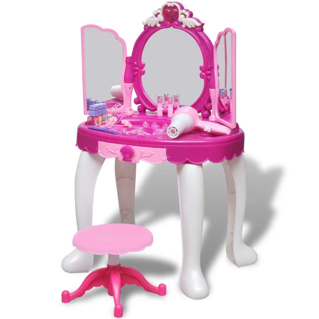Table de toilette debout jouet pour enfants à 3 miroirs avec lumière / son