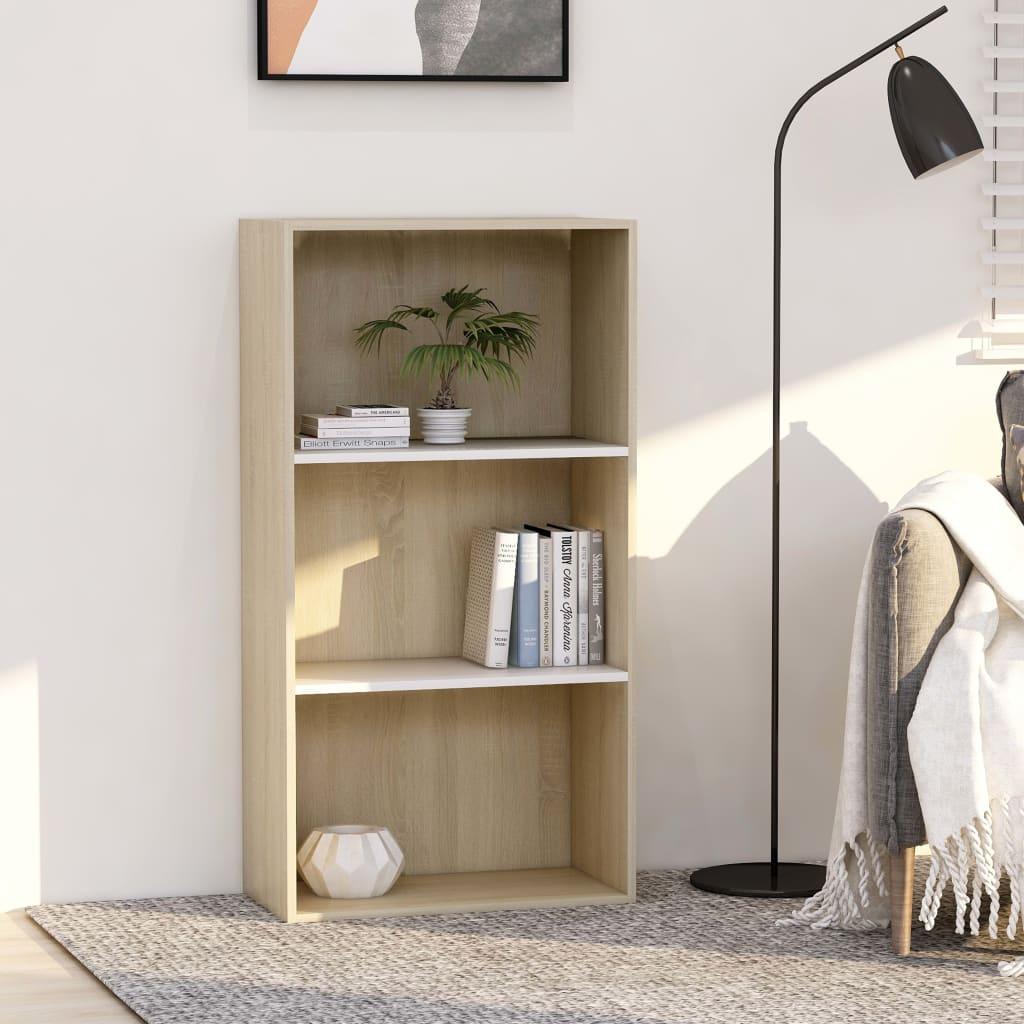 Bibliothèque à 3 niveaux blanc et chêne Sonoma 60x30x114 cm aggloméré