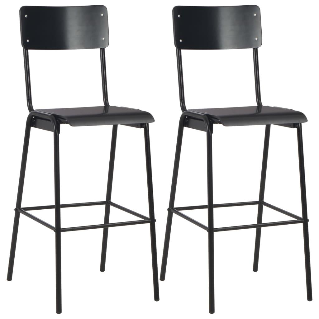 Chaises de bar 2 pièces en acier contreplaqué massif noir