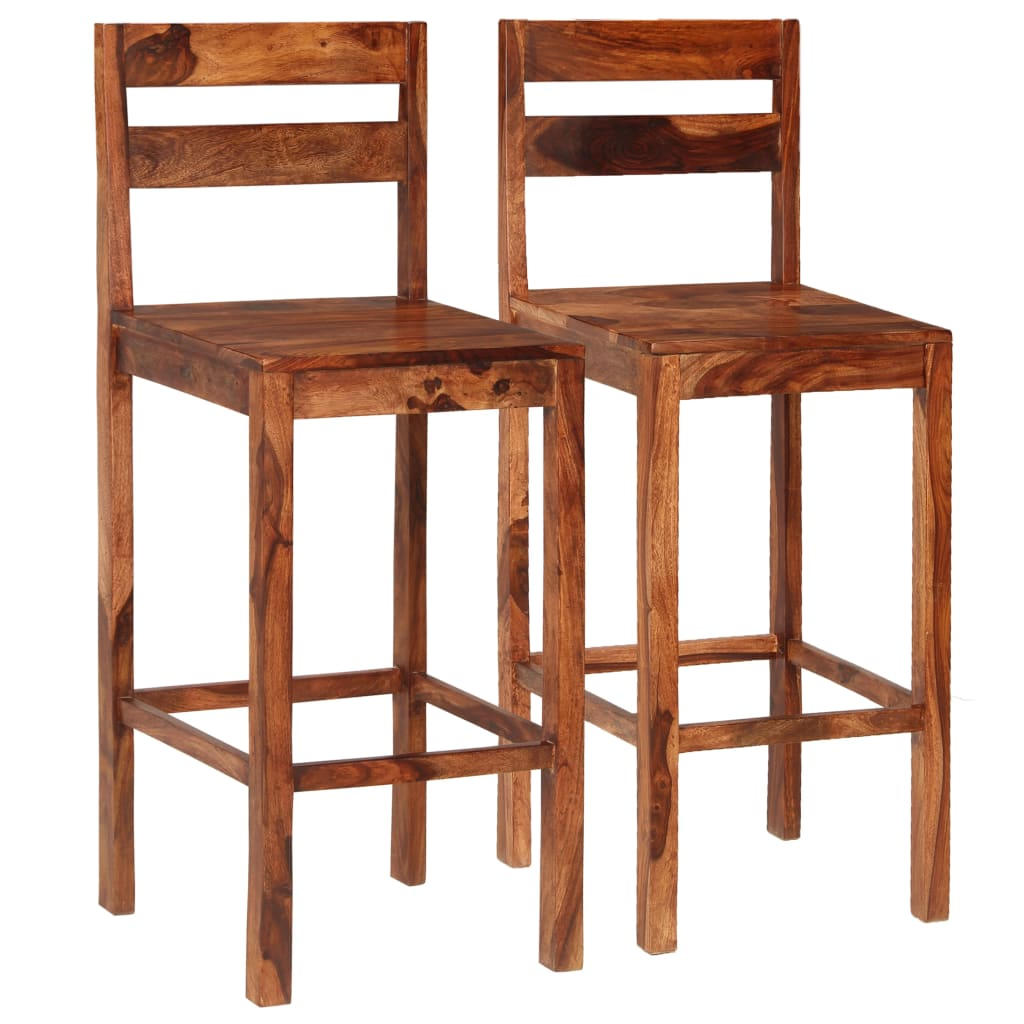 Bar Chairs 2 pcs Brown Solid Sheesham Wood