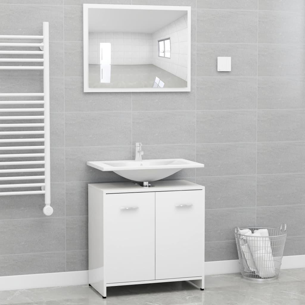 Ensemble de meubles de salle de bain en aggloméré blanc brillant