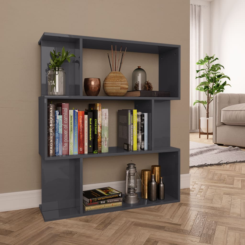 Armoire à livres / séparateur de pièce gris brillant 80x24x96 cm aggloméré