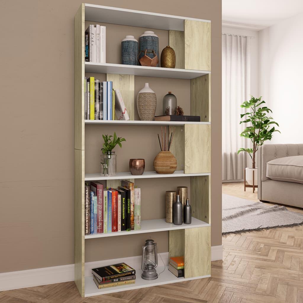 Armoire à livres / séparateur de pièce blanc et chêne Sonoma 80x24x159 cm aggloméré