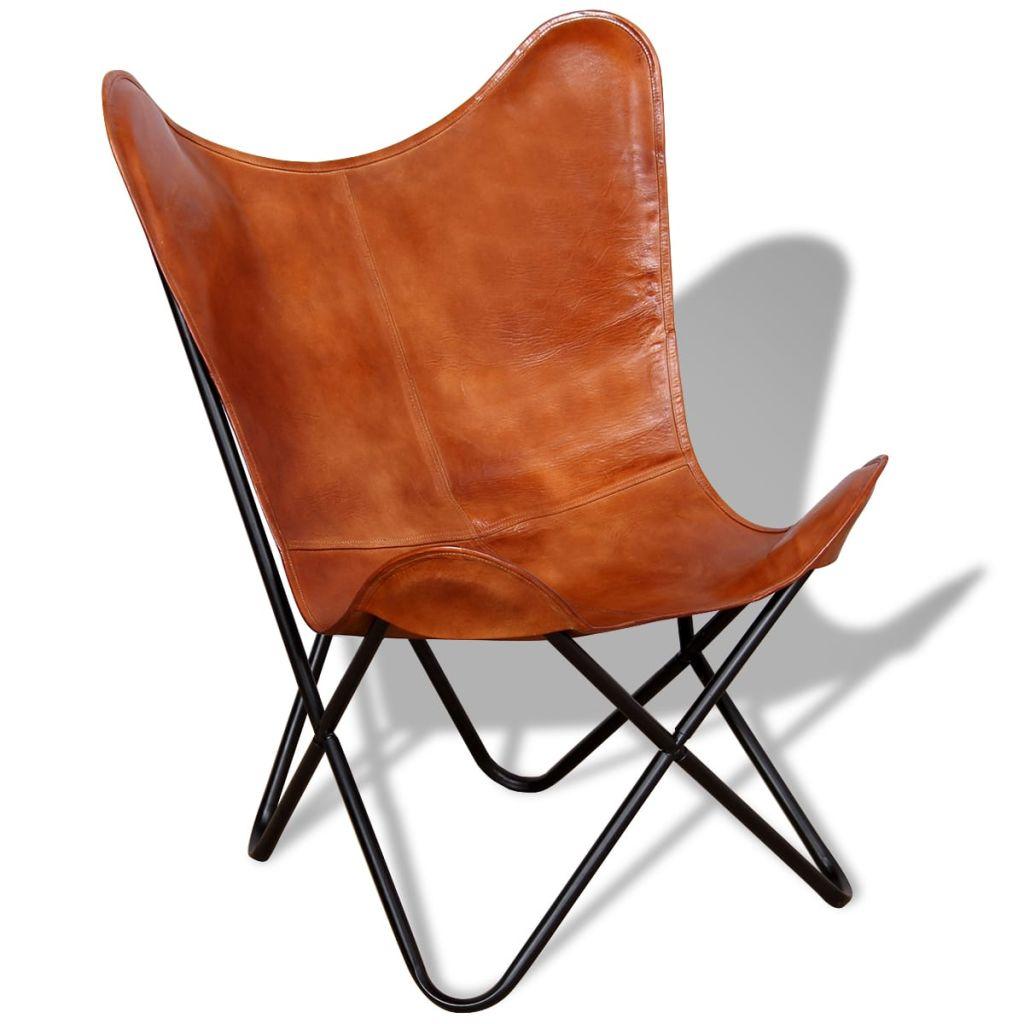 Chaise Butterfly en cuir véritable marron