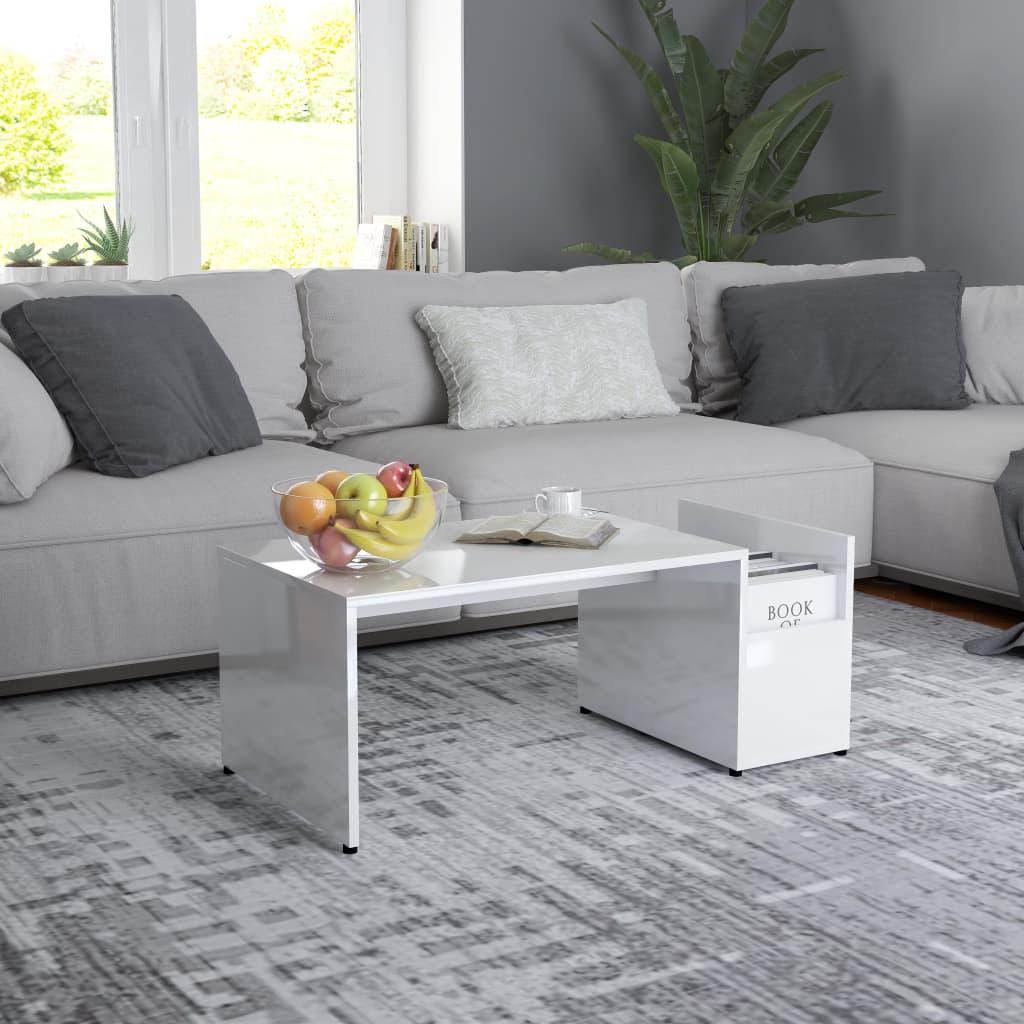 Tavolino da caffè in truciolare bianco lucido 90x45x35 cm