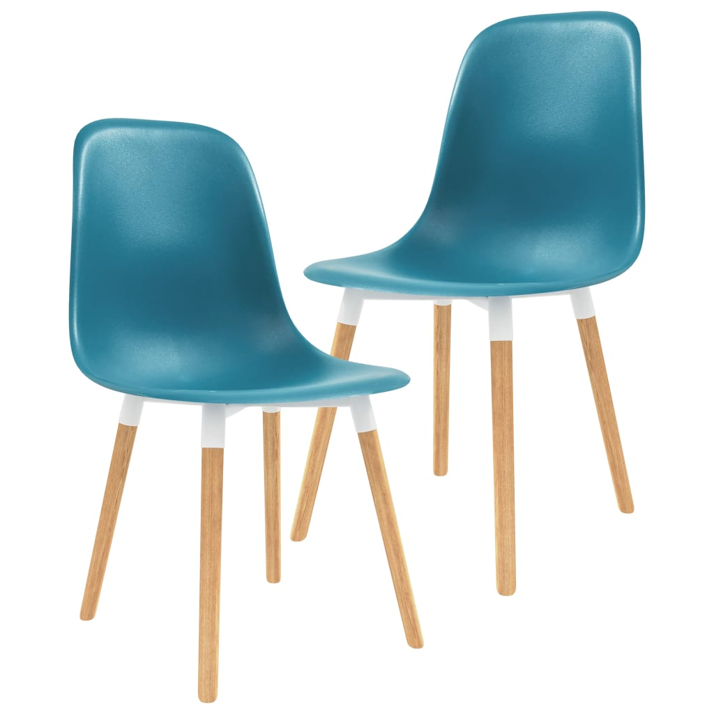 Chaises de salle à manger 2 pièces en plastique turquoise