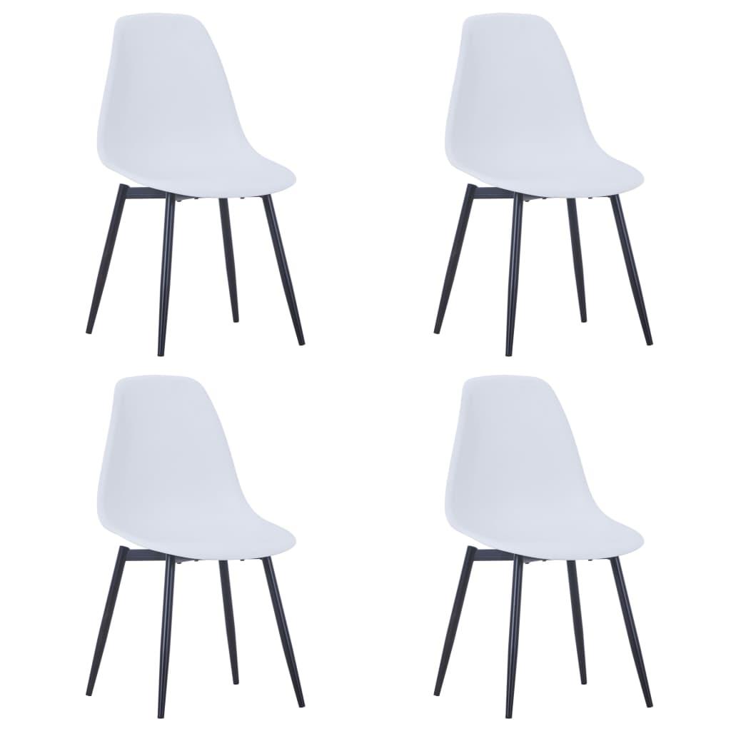 Chaises de salle à manger 4 pcs blanc PP
