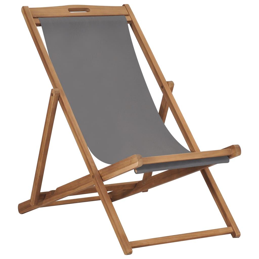 Chaise de plage pliante en bois de teck massif gris