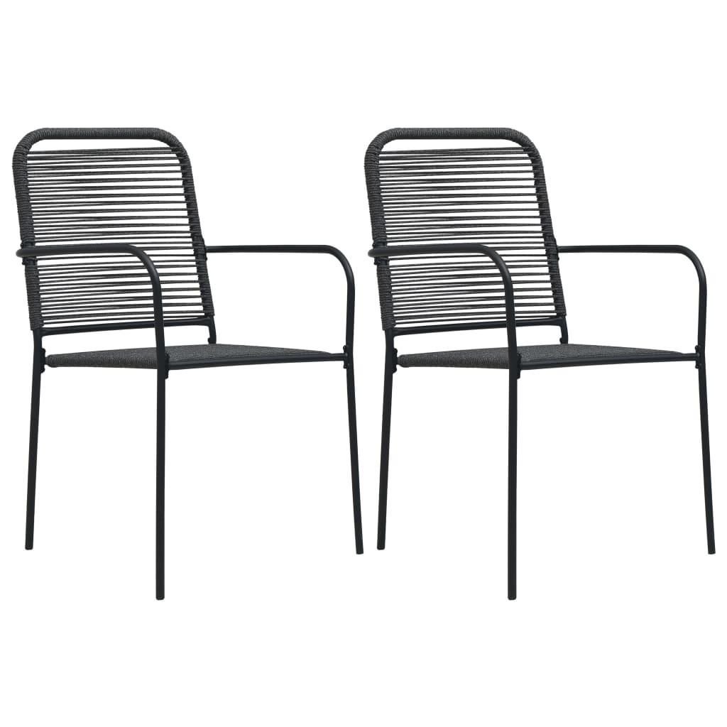 Chaises de jardin 2 pièces corde de coton et acier noir