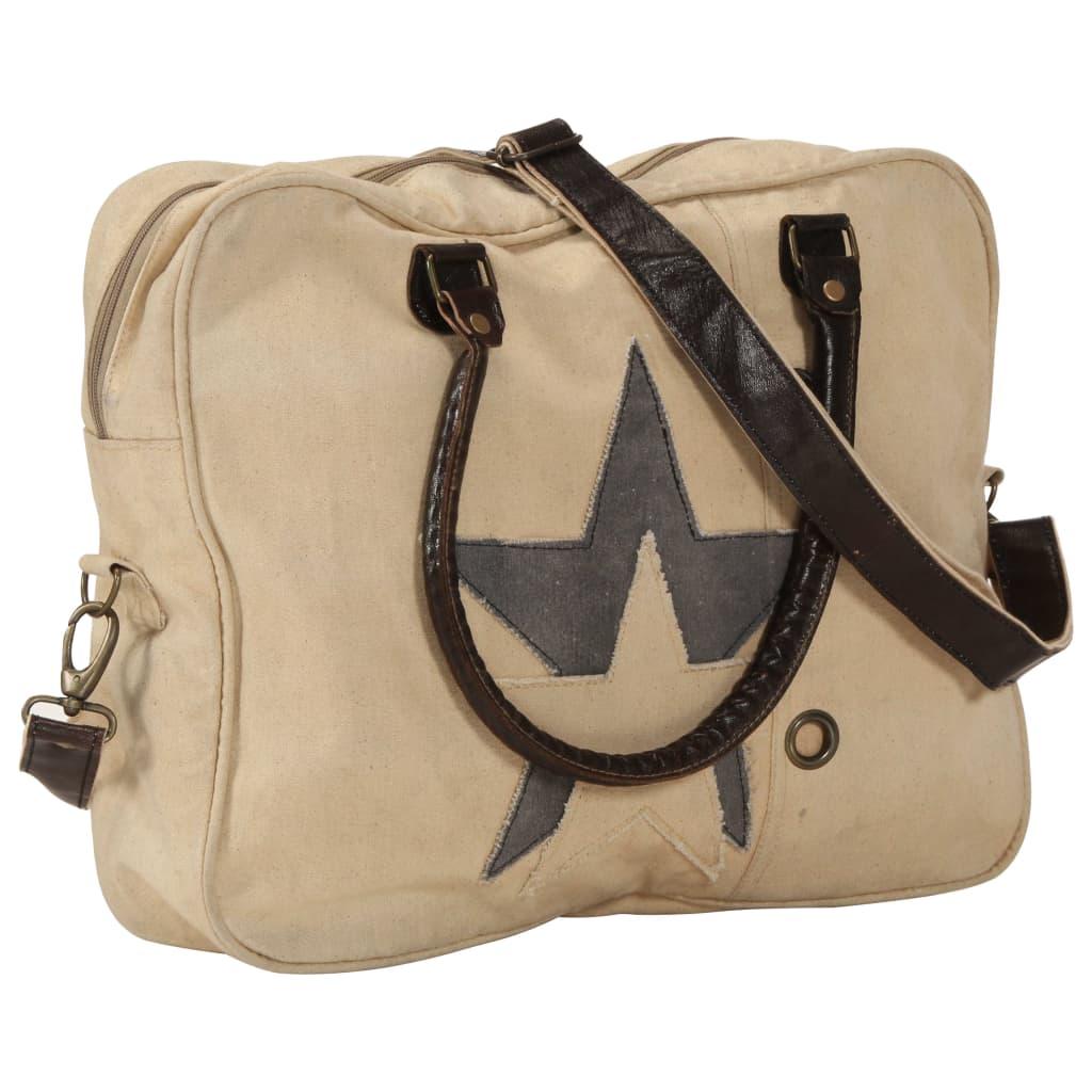 Τσάντα χειρός Μπεζ 40x54 εκ. Καμβάς και πραγματικό δέρμα