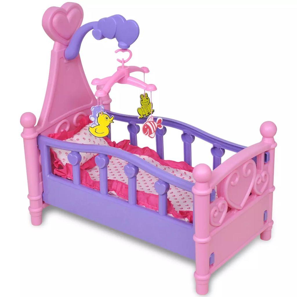 Gyermek- / játszószoba játékbaba ágy rózsaszín + lila