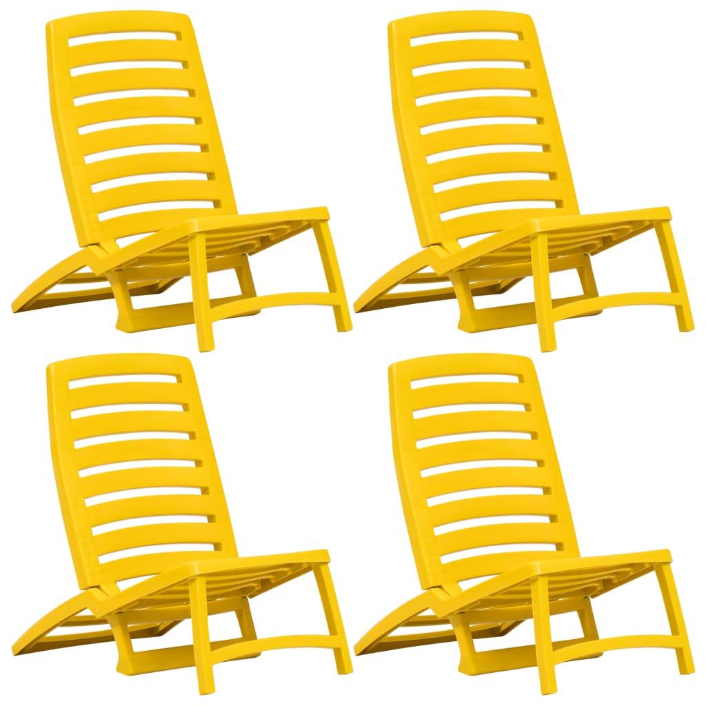 Chaise de plage pliante pour enfants 4 pièces en plastique jaune