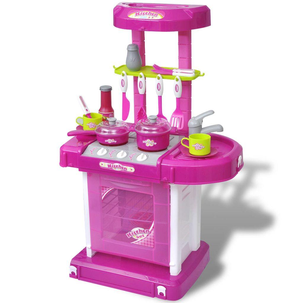 Gyerekek / gyermekek játszószobai konyhája világos / hanghatásokkal rózsaszín