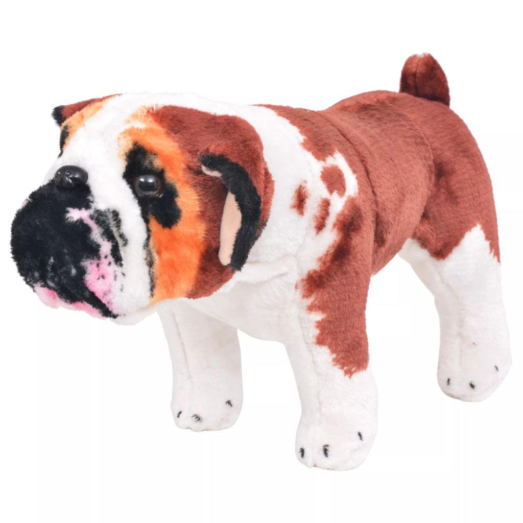Peluche Debout Bulldog Blanc et Marron XXL