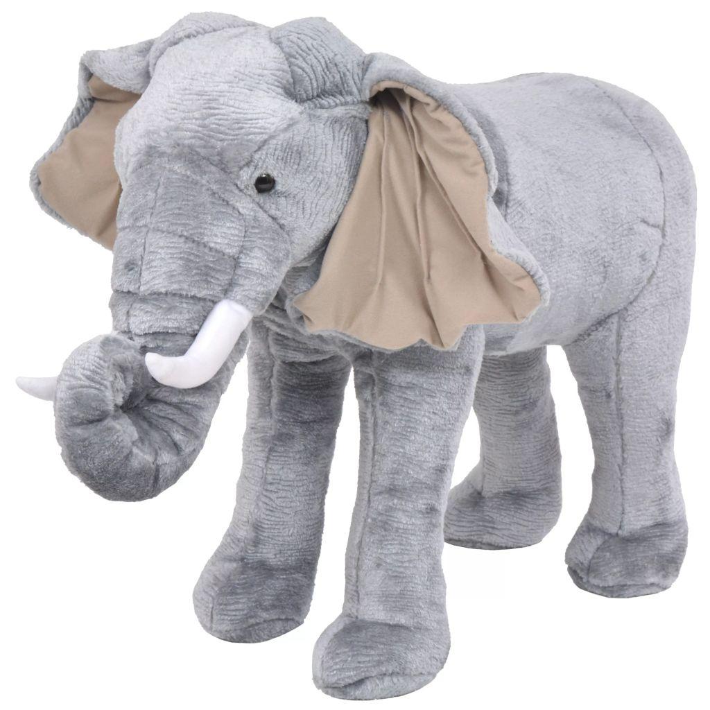 Peluche debout éléphant gris XXL