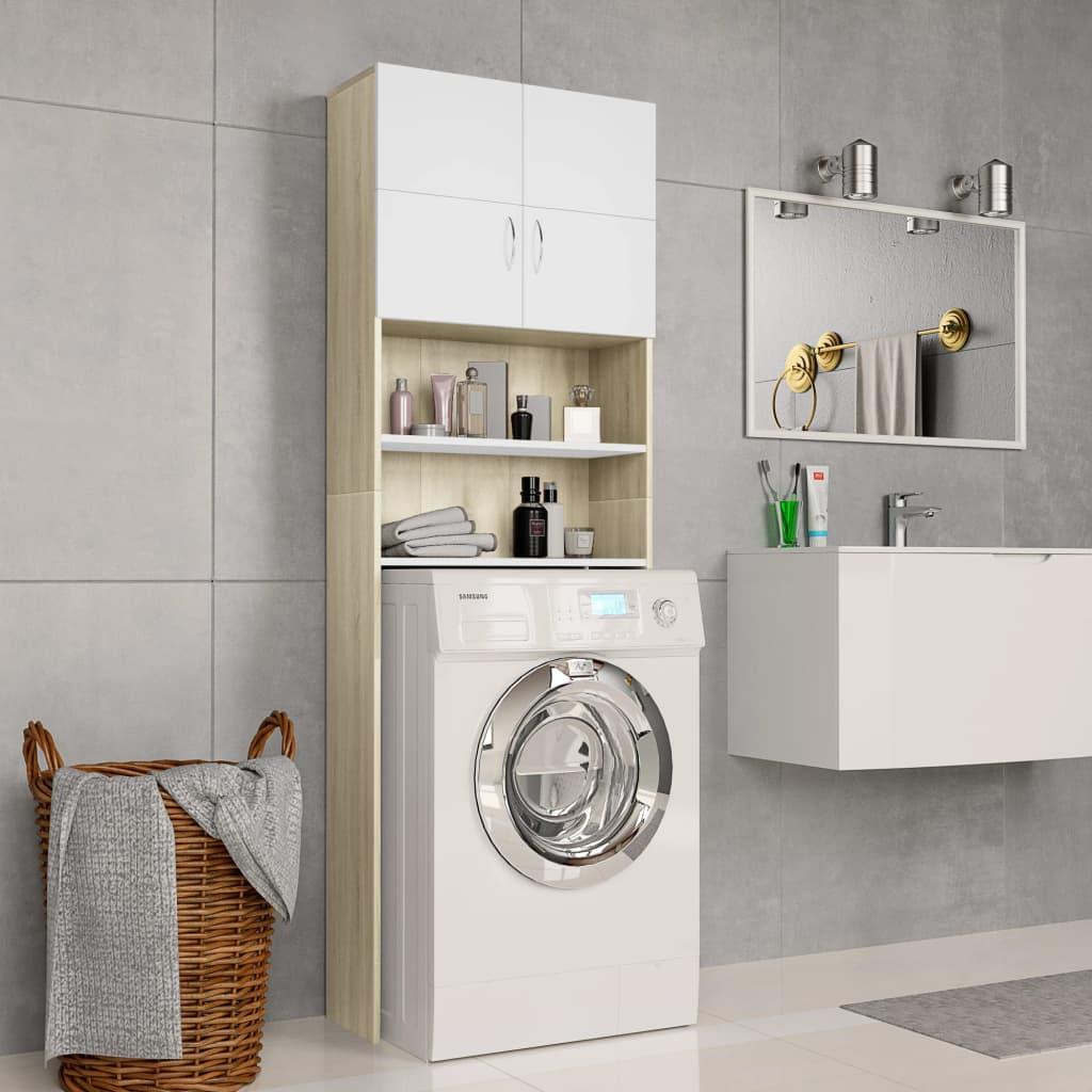 Πλυντήριο ρούχων Λευκό και Sonoma Oak 64x25.5x190 cm
