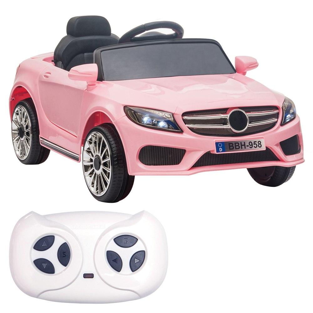 12 V-os gyerekek autóval 2.4 GHz-es távirányítóval, LED-es lámpákkal - rózsaszín