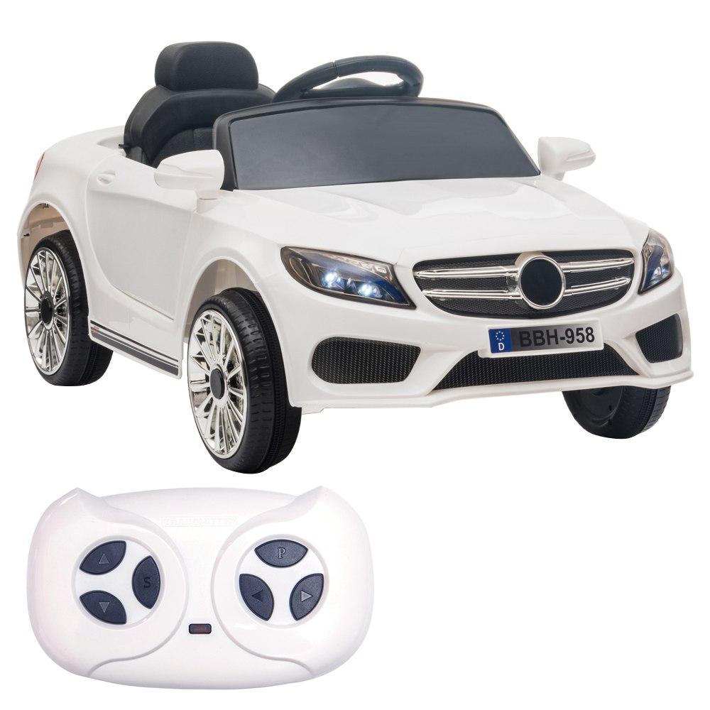 12 V-os gyerekek autóval 2.4 GHz-es távirányítóval, LED-es lámpákkal - fehér
