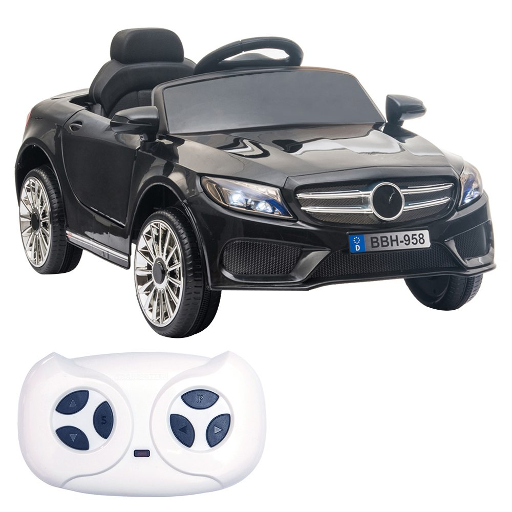 12 V-os gyerekek autóval 2.4 GHz-es távirányítóval, LED-es lámpákkal - fekete