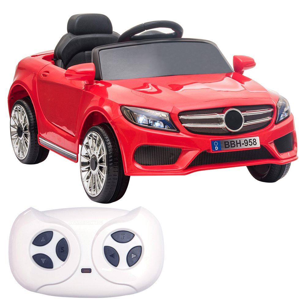 12 V-os gyerekek autóval 2.4 GHz-es távirányítóval, LED-es lámpákkal - piros
