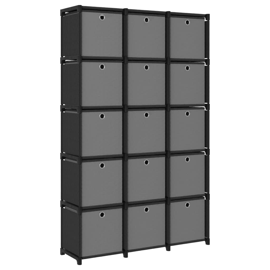 Présentoir 15 cubes avec boîtes en tissu noir 103x30x175.5 cm